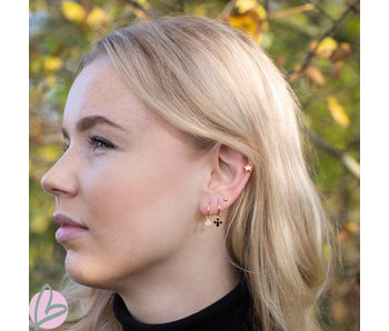 KARMA Hoops Symbol Black Zirconia Flower Fall Goldplated