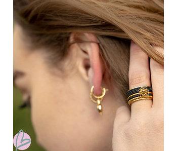 IXXXI Complete ring Zeeuwse knop  goud met zwart