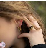 KARMA Hoops Symbol Zirconia Star Dots Goldplated