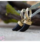 Beadle Goudkleurige hoops met zwarte hangers