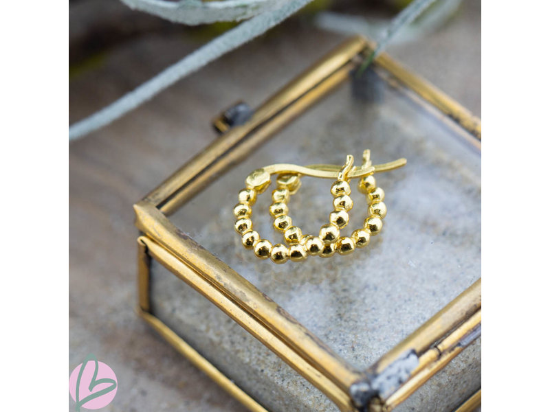 KARMA Plain Hoops Dots 14MM Goldplated