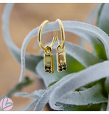KARMA Hoops Symbol Black Zirconia Rectangle 2 Goldplated