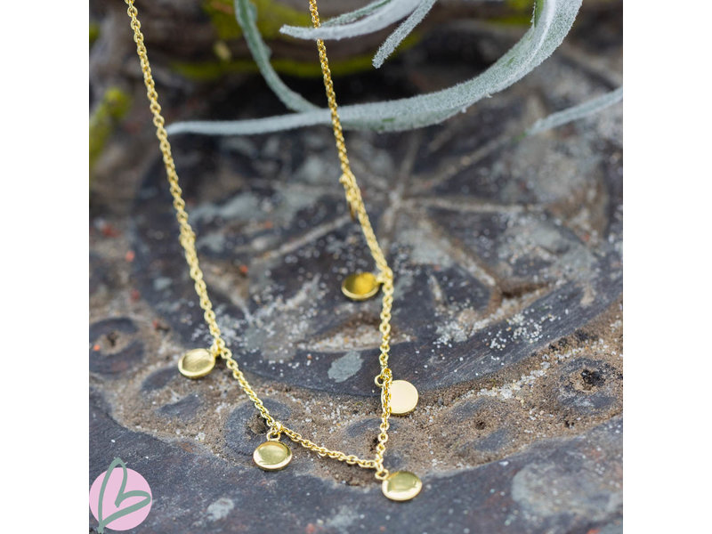 KARMA Karma Necklace 7 Discus (muntjes) Silver 925gold