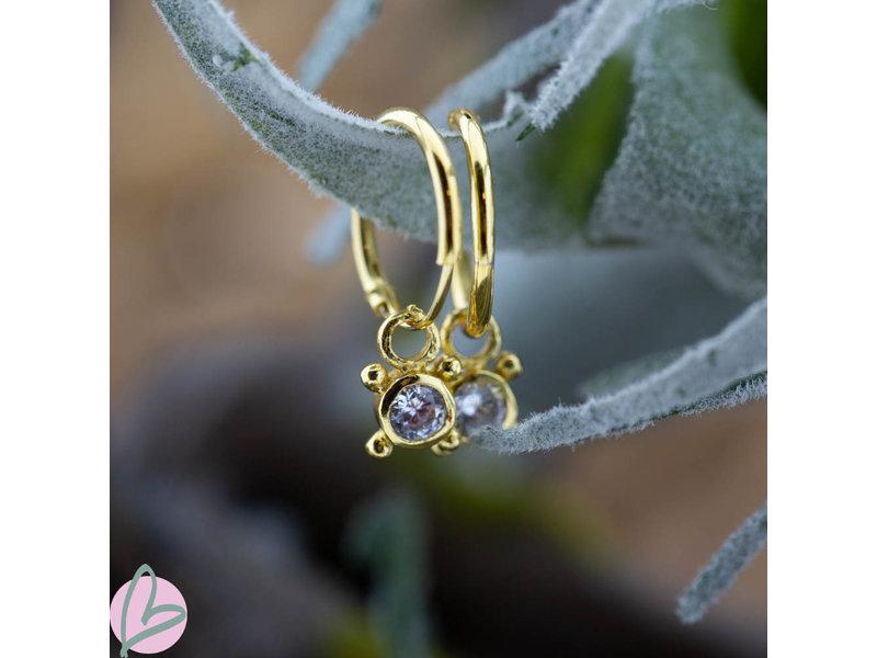 KARMA Hoops Symbols Zirconia Single Stone 4 Dots Goldplated