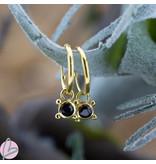 KARMA Hoops Symbols Black Zirconia Single Stone 4 Dots Goldplated