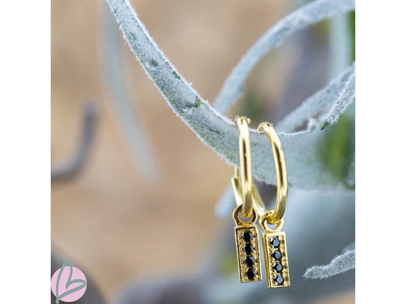 KARMA Hoops Symbol Black Zirconia Rectangle Goldplated