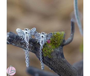 KARMA Oorstekers bijtje met ketting zilver chain