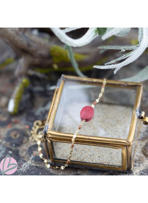 ZAG  Bijoux Gouden armband met koraal kleur steen