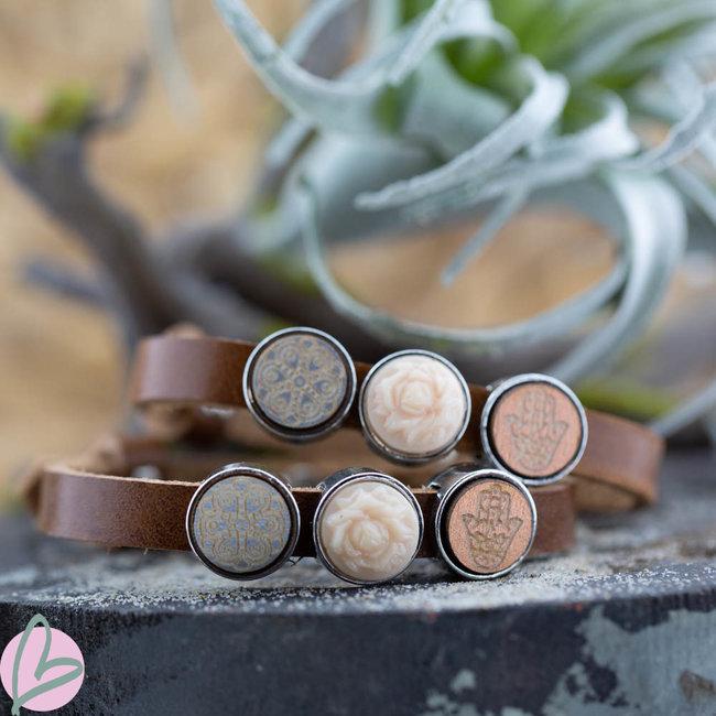 Beadle Leren bruin armband met schuivers