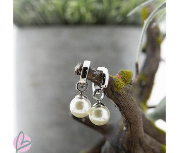KalliKalli Zilver creolen met witte parels