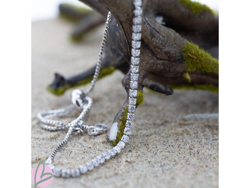 KalliKalli Zilver armband met strass steentje