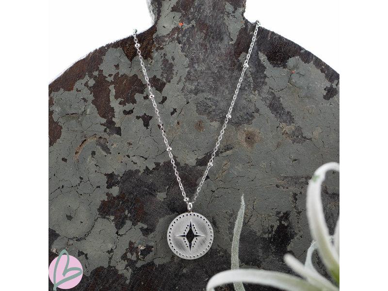 Go Dutch Label Stalen zilver ketting met munt met kompas