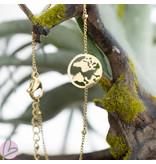 Go Dutch Label Armband staal goud wereldbol aarde