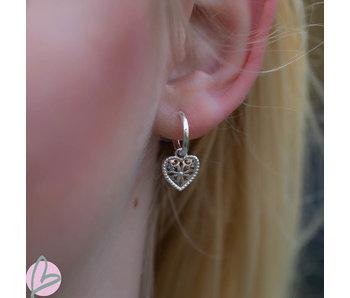 Biba druppel oorbellen bewerkt hart