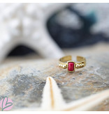 Biba Biba brede ring met rechthoek koraal rood steentje