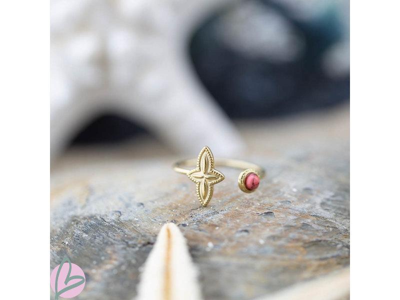 Biba Biba  ring met bloem koraal roze