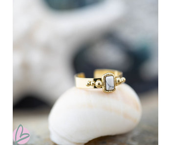 Biba ring met witte steen