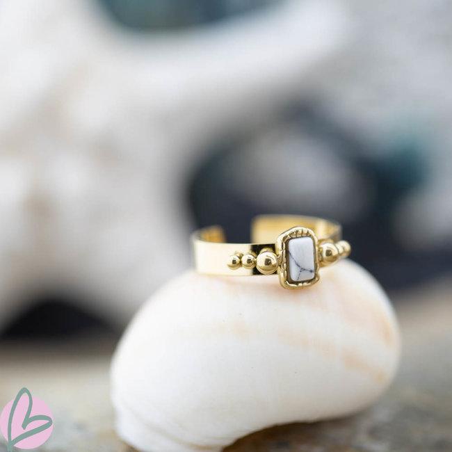 Biba Biba stalen ring met witte ovalen steen