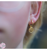 Biba oorbellen goud bewerkt rondje