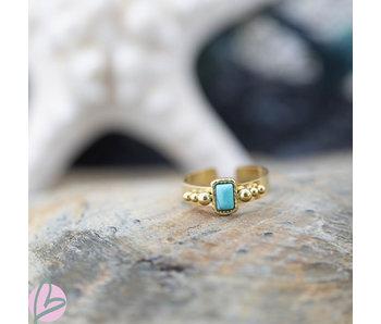 Biba Ring turquoise rechthoekig breed