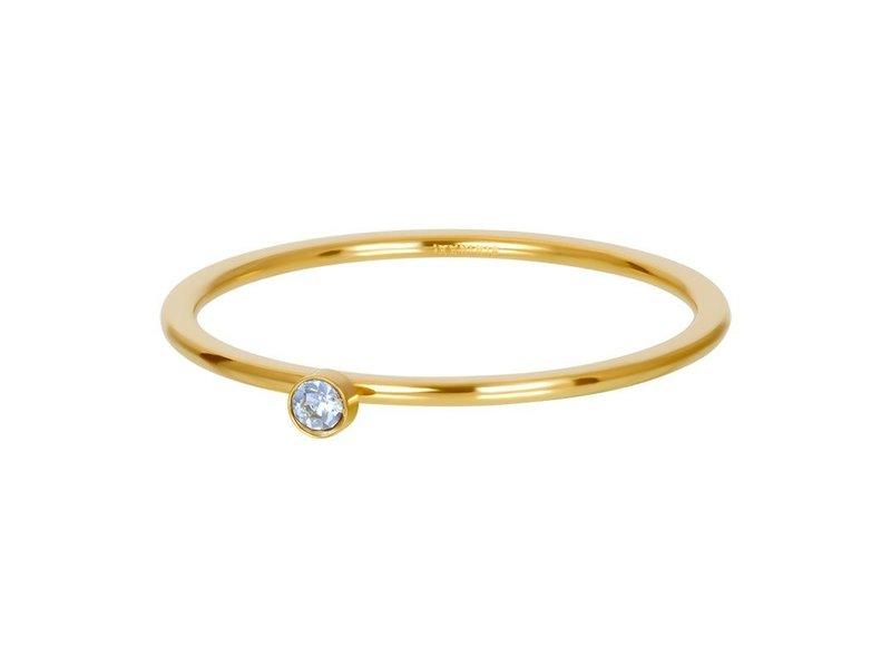 IXXXI Vulring 1mm crystal goud  blauwe steen