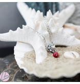 Zeeuws Echt zilveren Zeeuwse knop ketting met koraal