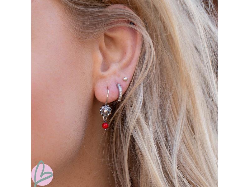 Zeeuws Zilveren Zeeuwse knop oorstekers met koraal bedels 8mm