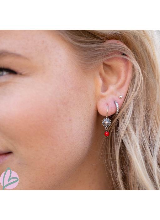 Zeeuws Zilveren Zeeuwse knop oorstekers met koraal 8mm