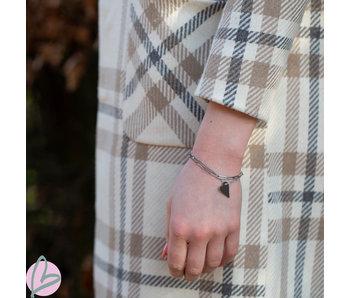 ZAG  Bijoux dubbele armband schakels en hart zilver