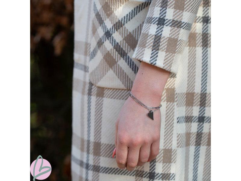 ZAG  Bijoux dubbele zilver armband met schakels en hart