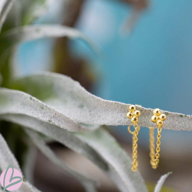 KARMA oorstekers bolletjes met ketting goud
