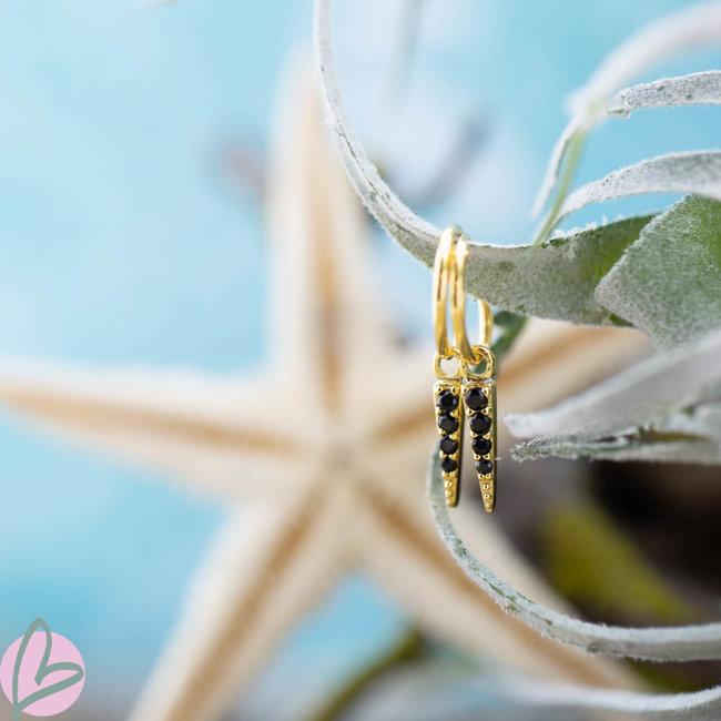 KARMA cone oorbellen goud met zwarte zirconia