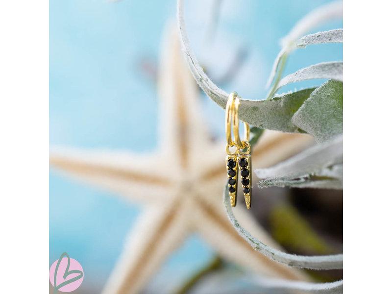 KARMA Hoops Symbols Black Zirconia Cone Goldplated