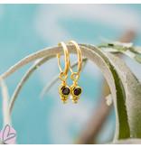 KARMA Hoops Symbol Black Zirconia Dot Triple Dots Goldplated