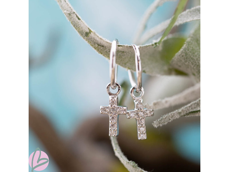 KARMA Oorringen zilver925 met crystal kruis zilver