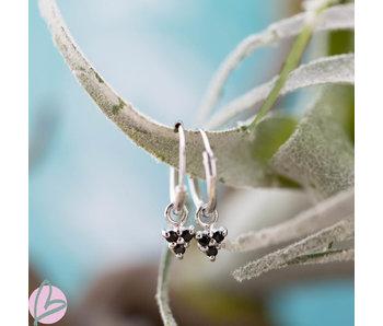 KARMA Hoops Symbols Black Zirconia Triple Dots Silver