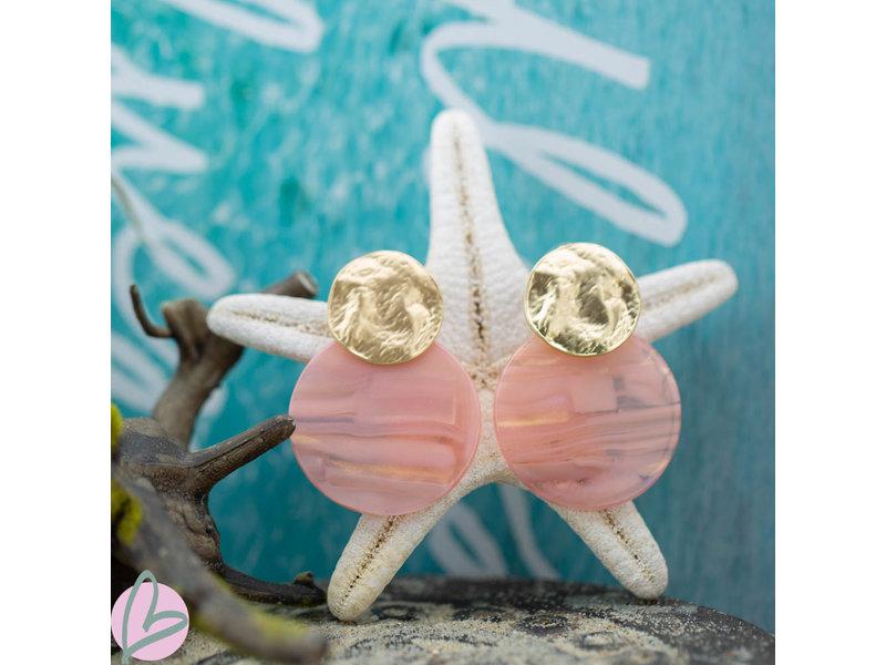 Biba Oorbellen double disc zacht roze goud