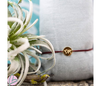 Beadle Wereld armband goud aubergine paars