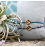 Beadle Wereld armband goud blauw