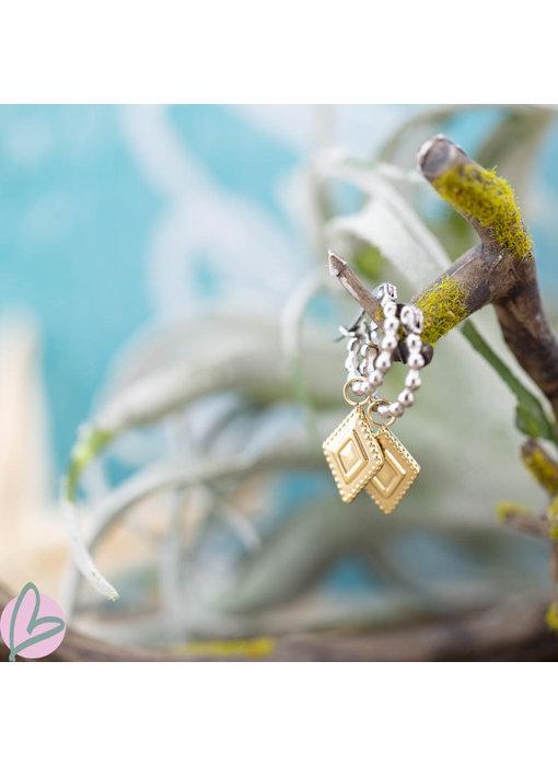 Go Dutch Label Bolletjes oorringen zilver met goud ruitje bedel