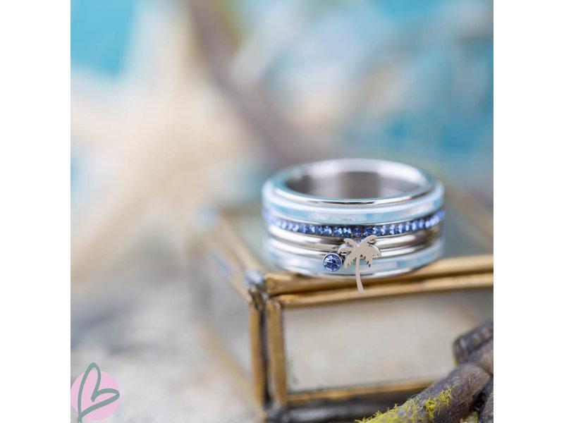 IXXXI Complete ixxxi ring zilver met palmboom en blauw saphire steen