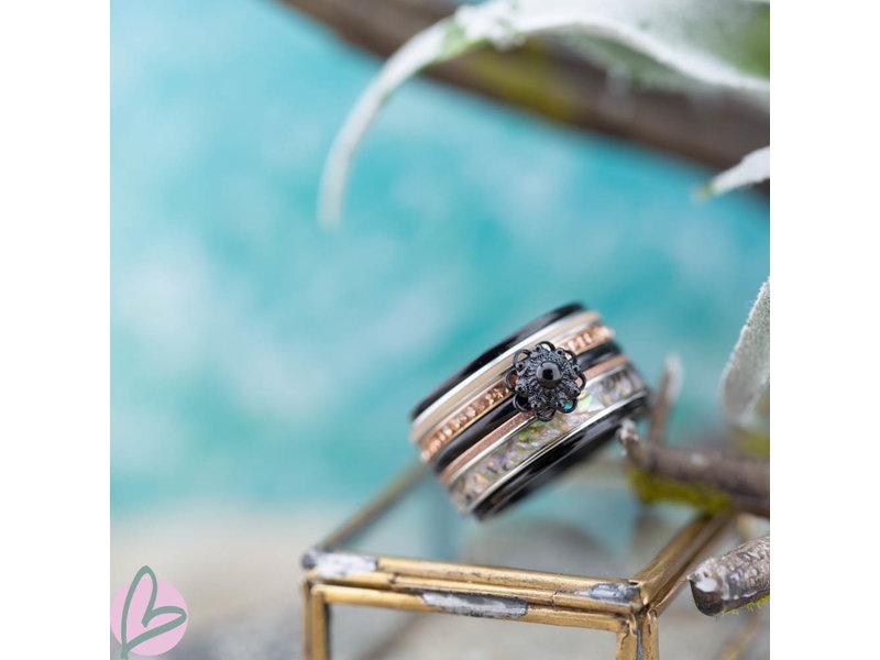 IXXXI Complete ixxxi zeeuwse knop ring zwart met grey shell en rose