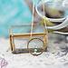 ZAG  Bijoux Goud ketting open rondje met turquoise kralen