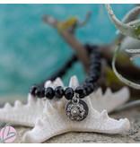Zeeuws Zwarte facet kralen armband met zeeuwse knop