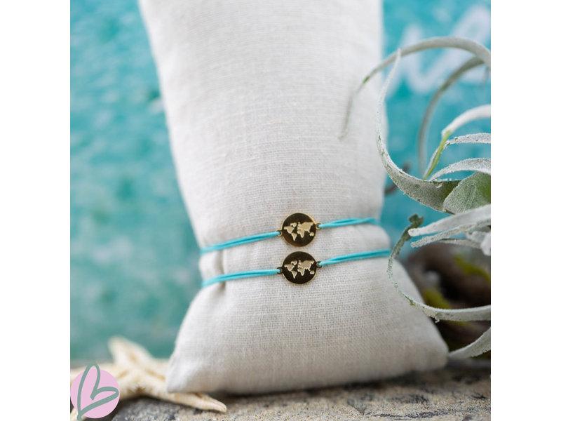 Beadle Wereld armband goud turquoise