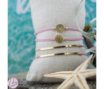 Beadle Roze elastiek verstelbaar armbandje met balk of muntje