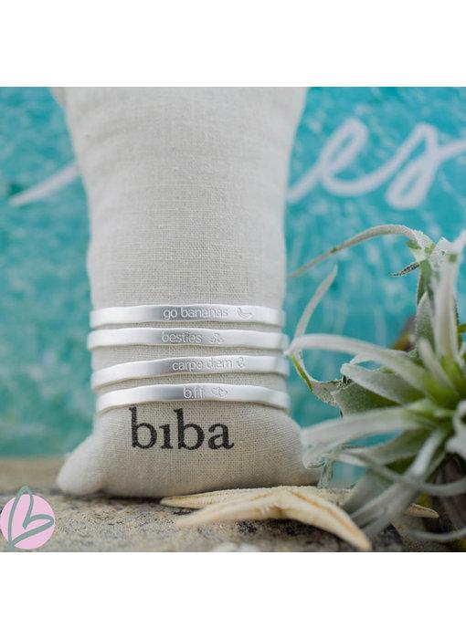 Biba armband matzilver 'BFF/ Best friends/Carpe Diem/Go Bananas