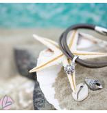Zeeuws Leren armband met echt zilveren Zeeuwse knop hanger
