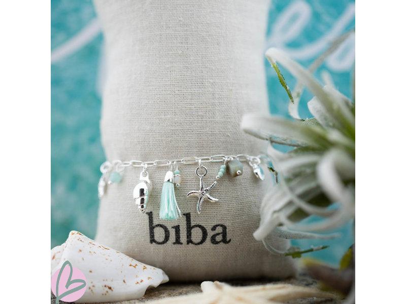 Biba Zilverkleurige strand bedel armband