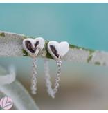 KARMA karma zilver oorstekers met ketting chain en hart